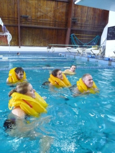 Students of AFAA head to Centennial Pool for a lesson in hypothermic huddle groups. Photo by Katrina Pyne.
